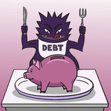Debt and piggy bank. Stock Photo