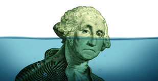 Debt Problems. And keeping your financial head above water represented by a drowning George Washington portrait sinking in blue water as a symbol of urgent Royalty Free Stock Images