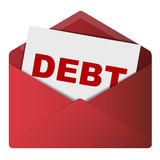 Debt in a red envelope  Royalty Free Stock Images