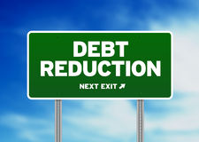 Debt Reduction Road Sign. Green Debt Reduction highway sign on Cloud Background Stock Photography