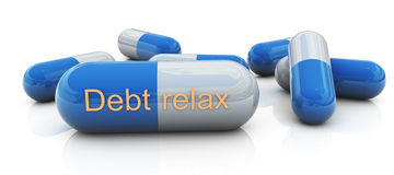 Debt relax pills Stock Photography
