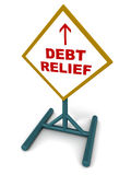 Debt relief. A standing signboard showing debt relief ahead on white background, concept of financial well being Stock Photography
