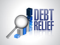 Debt relief business graph magnify review Royalty Free Stock Photos