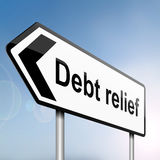 Debt relief concept. Illustration depicting a sign post with directional arrow containing a debt relief concept. Blurred background Royalty Free Stock Photo