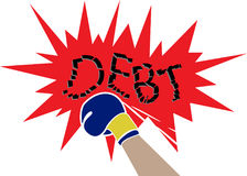 Debt relief concept. With fighting Debt broke Royalty Free Stock Photo