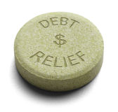 Debt Relief. Green Relief Medicine for Debt  on a White Background Stock Images