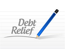 Debt relief message sign illustration design. Over a white background Royalty Free Stock Image