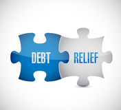 Debt relief puzzle pieces illustration design. Over a white background Royalty Free Stock Photos