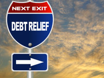 Debt relief road sign Royalty Free Stock Image