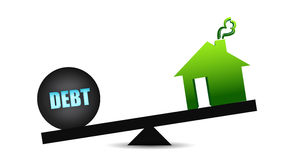 Debt and residence balance Stock Photo