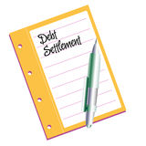 Debt settlement. Isolated document with the text debt settlement written on its first page Royalty Free Stock Image