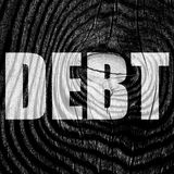 Debt sign with some smooth lines Royalty Free Stock Photos