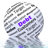 Debt Sphere Definition Displays Financial Crisis And Obligations Stock Photography