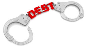 Debt. Steel handcuffs with red word `DEBT`, on white background. 3D Illustration vector illustration