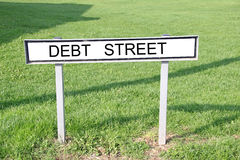 Debt street road sign Royalty Free Stock Photos