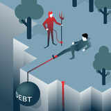 Debt takes off man over a cliff Royalty Free Stock Images