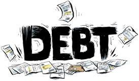 Debt Text. Cartoon text reading DEBT crushing a pile of paperwork stock illustration
