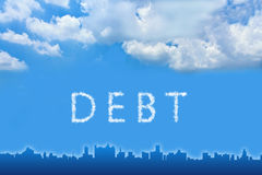 Debt text on cloud Royalty Free Stock Images