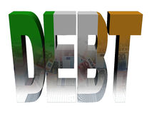 Debt text with Irish flag and euros Royalty Free Stock Photo