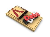 Debt trap. 3d render, debt trap concept isolated on white background Royalty Free Stock Image