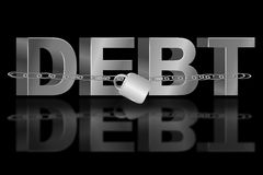 The debt trap. Illustration depicting the word 'debt' with a chain and padlock. Black background and reflecting into foreground Royalty Free Stock Image