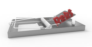 Debt Trap. 3D render of the Debt word positioned on a trap. The concept symbolize the financial risk Royalty Free Stock Image