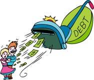 Debt Vacuum. A vacuum sucking up a couple's money. A metaphor for financial debt vector illustration