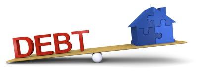 Debt versus house Stock Photo