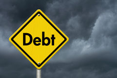 Debt Warning Road Sign Stock Image