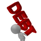 Debt Word And 3d Character Shows Bankruptcy And Poverty Royalty Free Stock Photography