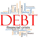 Debt Word Cloud Concept. With great terms such as sum, money, financial, crisis, bills, limit, past due and more Royalty Free Stock Photo