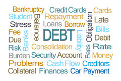 Debt Word Cloud. On White Background Stock Photo