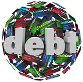 Debt Word Credit Card Ball Bankrupt Money Problem. The word Debt in 3d letters on a ball or sphere of credit cards to illustrate being behind in bills paying off Stock Image