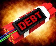 Debt Word On Dynamite Showing Bankruptcy And Poverty Stock Images