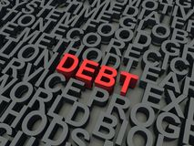 Debt. Word Debt in red, salient among other keywords concept in grey. 3d render illustration Royalty Free Stock Images