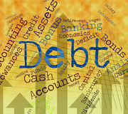 Debt Word Shows Financial Obligation And Finance Stock Photos