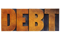 Debt word in wood type Royalty Free Stock Photo