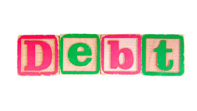 Debt Written in Old Wooden Blocks Stock Image
