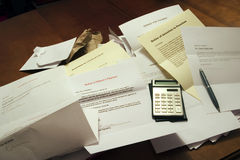 Debts. Payment demands and notices signifying debt problems. (Documents were all created for the photo Royalty Free Stock Photography