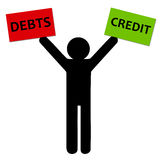 Debts and credit. Worrying about having debts and not having sufficient credit Royalty Free Stock Photo