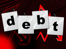 Debts Debt Indicates Financial Obligation And Liabilities. Debt Debts Showing Financial Obligation And Indebt Royalty Free Stock Image