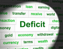 Debts Deficit Means Financial Obligation And Arrears. Debts Deficit Representing Financial Obligation And Finance Royalty Free Stock Images