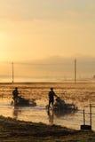 Debulhadoras da airela que trabalham em um pântano Imagem de Stock Royalty Free