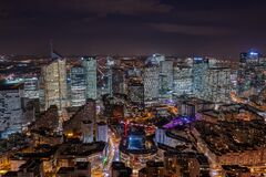 Free Dec 10, 2019 - Paris, France: Aerial Drone Shot Of La Defense CBD Buildings Complex In The Evening From Courbevoie Side Royalty Free Stock Images - 188967199