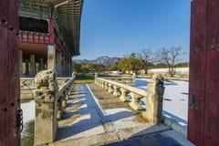 Dec 6,2017 Beautiful party place Gyeonghoeru at Gyeongbok Palace. Seoul ,Korea Stock Photo