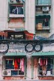 22, Dec, 2015, Chong qing - mgłowy zatłoczony miasto, lokalny budynek ja obrazy stock