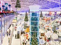 17 Dec 2017. Christmas decorations in Aviapark shopping mall. Mo. 17 Dec 2017. Christmas decorations in Aviapark shopping mall. One of the largest in Europe Stock Photography