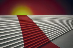 Concept-Red Carpet on steps and Sun Ric royalty free illustration