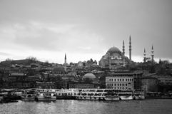 Istanbul city view with Suleymaniye mosque and Eminonu pier stock image