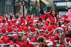 21 Dec 2014 - Kerstman dag Londen Royalty-vrije Stock Fotografie